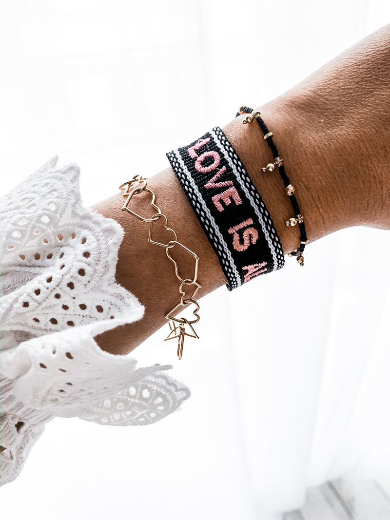 BRACELET LOVE IS ALL NOIR