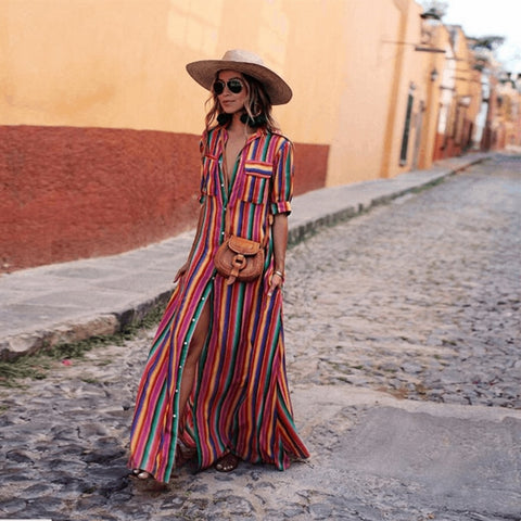 Short Sleeve Boho Striped Casual Long Dress