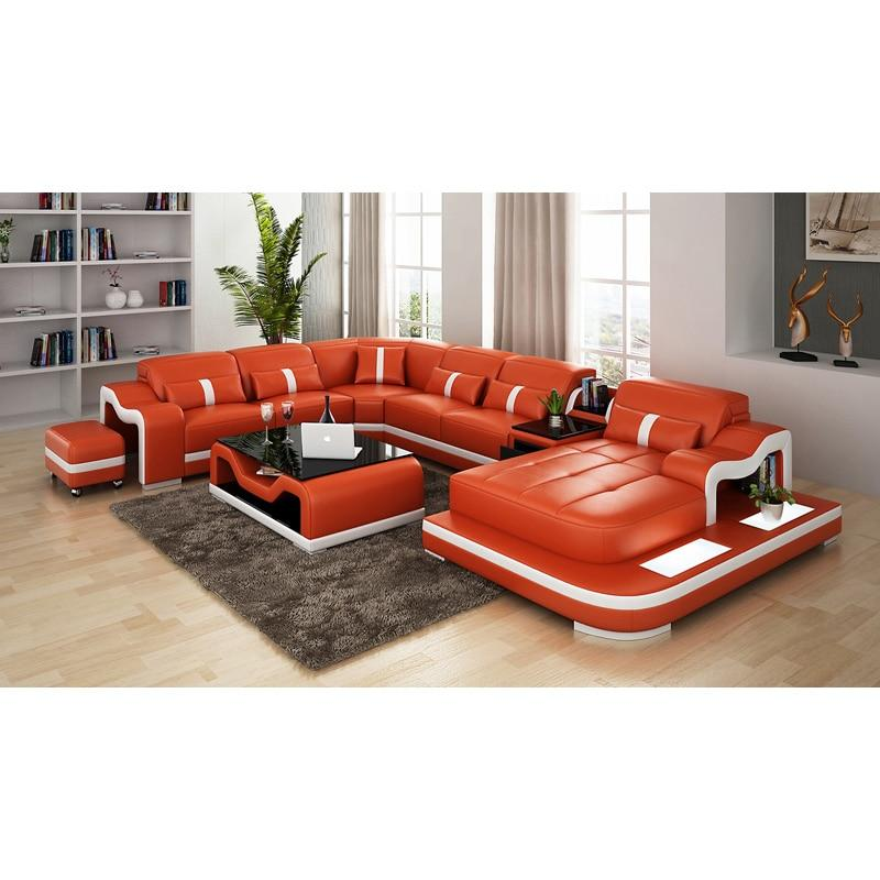 French style living room home furniture genuine leather sofa set