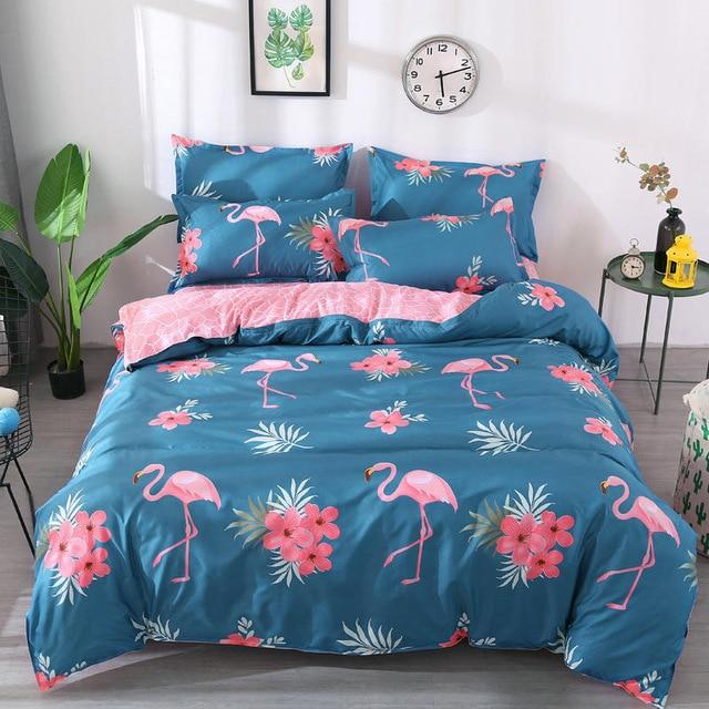 4pcs/set Bedding Set  Love Strawberry Pink Pattern Bed Linings Duvet Cover Bed Sheet Pillowcases Cover Set Dropshipping