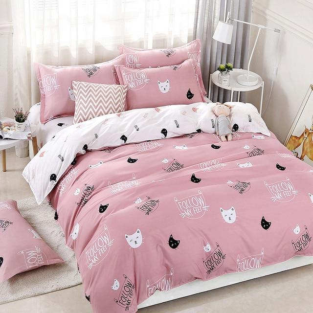 Solstice Home Textile Cyan Cute Cat Kitty Duvet Cover Pillow Case Bed Sheet Boy Kid Teen Girl Bedding Linens Set King Queen Twin