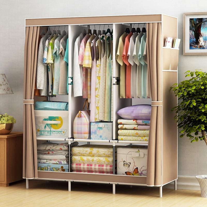 Simple Cabinet Storage Wardrobe Dust-proof Wardrobe Steel Frame Reinforcement Combination Clothing Closet Bedroom Organizer