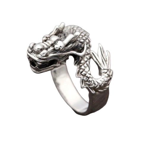 "Bague Dragon<br>  Ya Zi ""Argent"" - Dragon-chinois"