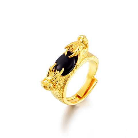 "Bague Dragon<br> Onyx ""Or"" - Dragon-chinois"