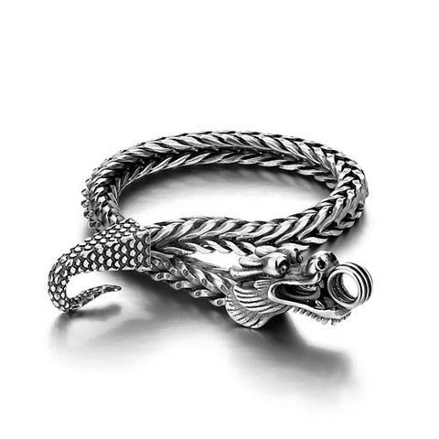 "Bracelet Dragon <br> Maille Viking ""Argent"" - Dragon-chinois"