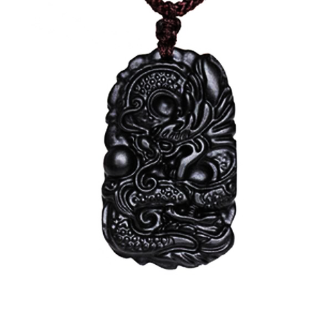 Collier Dragon<br> Obsidienne Noir - Dragon-chinois
