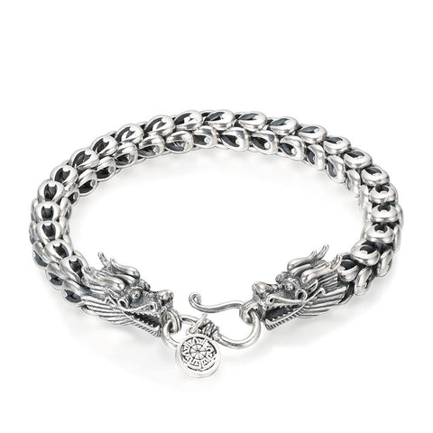 "Bracelet Dragon<br> Maille de Serpent ""Argent"" - Dragon-chinois"