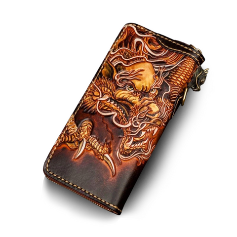 Portefeuille Dragon <br> Cuir Marron - Dragon-chinois