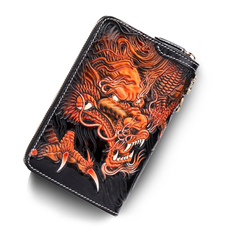 Portefeuille Dragon <br> Homme Cuir Noir - Dragon-chinois