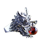 "Bague Dragon<br> Oeuf Rouge ""Argent"" - Dragon-chinois"