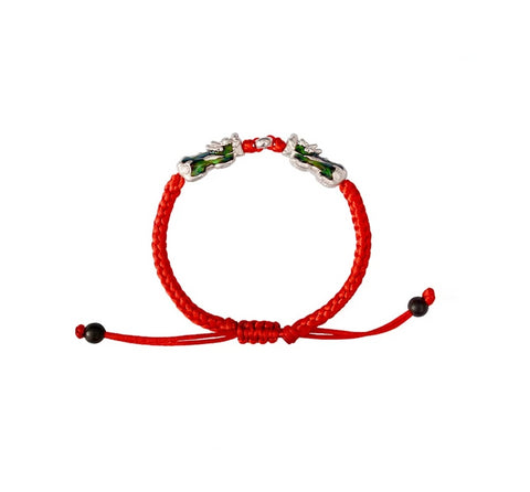 "Bracelet Dragon<br> Tresse Tibétain Rouge ""Argent"" - Dragon-chinois"