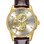 Montre Dragon<br> Cuir Marron Large - Dragon-chinois