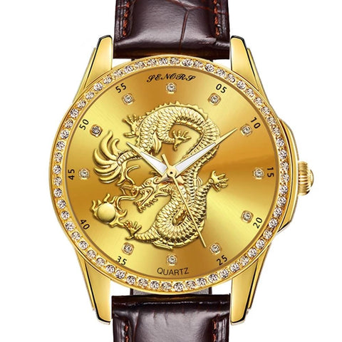 Montre Dragon<br> Bracelet en Cuir Marron - Dragon-chinois