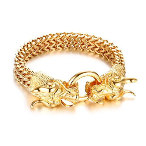 "Bracelet Dragon<br> Maillon d'Or ""Acier"" - Dragon-chinois"