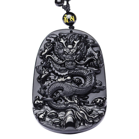 Collier Dragon<br> Obsidienne Brute - Dragon-chinois