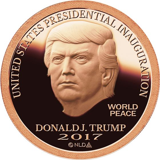 2017 - DONALD TRUMP INAUGURAL COPPER DOLLAR COIN - 1 OZ. - .999 - BU