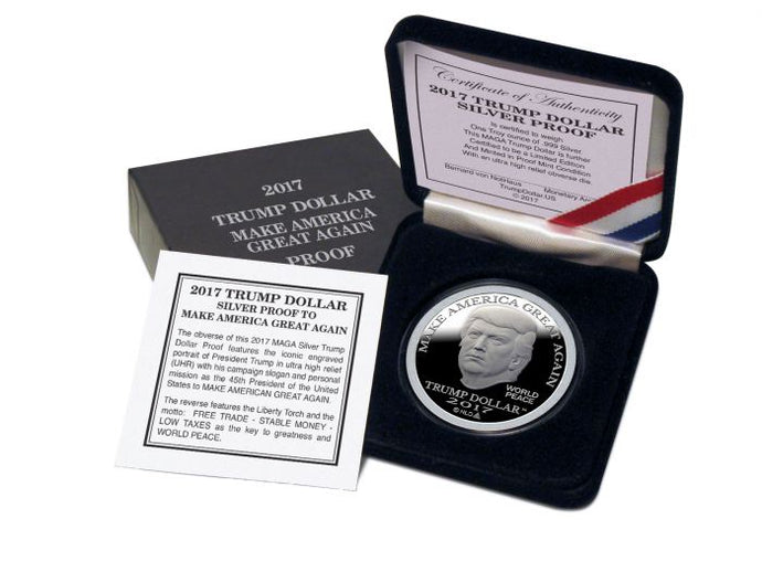 2017 - PROOF DONALD TRUMP MAGA SILVER DOLLAR COIN - 1 OZ. - BU
