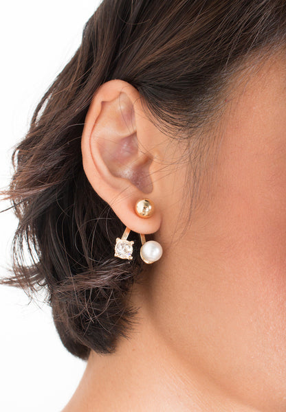 Pearl and Faux Jewel Stud Earring in Gold