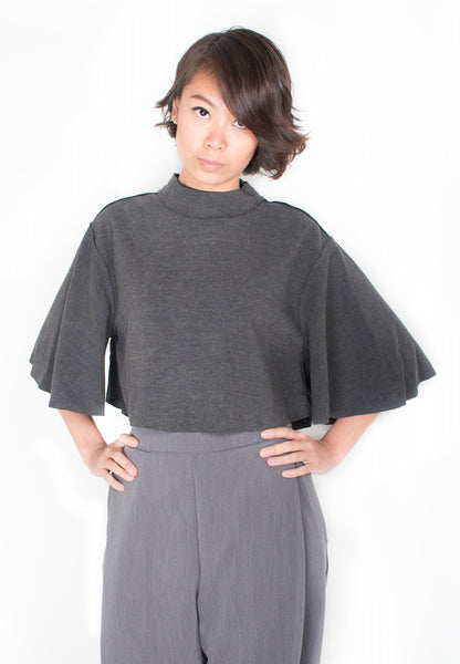 Cape Like High Neck Top in Industrial Grey