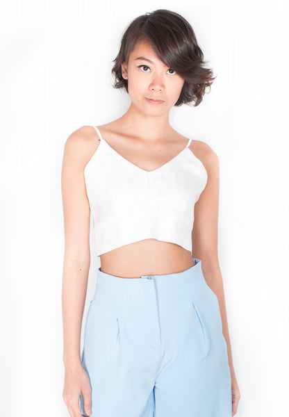 Classic Sleek Cami Crop Top in White