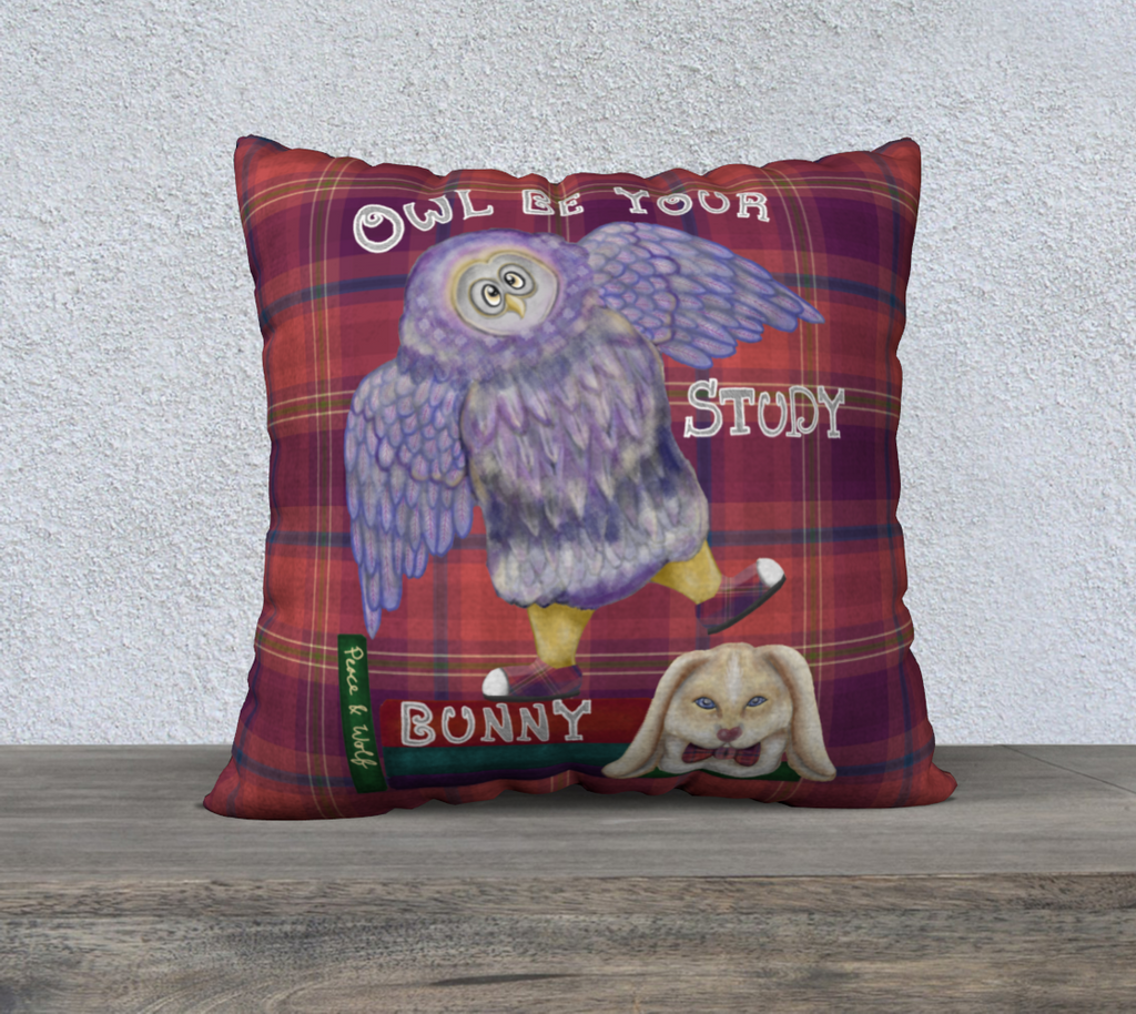 "Owl be your Study Buddy - 22"" x 22"" Pillow Case"