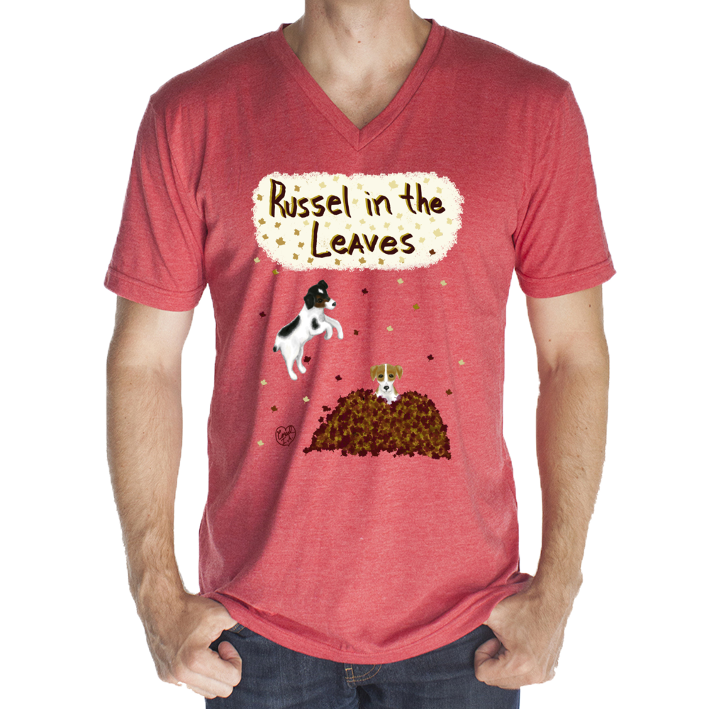 Russell in the Leaves - Unisex - USA Made 50/50 Blend V-neck Tee