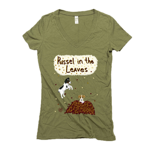 Russell in the Leaves - Women's - USA Made Hemp Organic Cotton V-neck