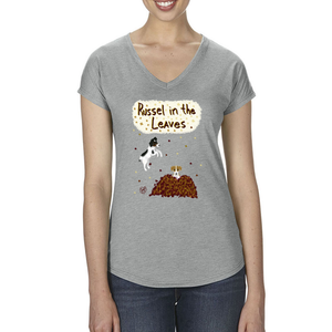 Russell in the Leaves - Women's - Triblend V-neck Tee