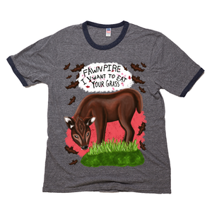 "Fawnpire ""I Vwant your Grass"" - Unisex - USA Made Triblend Ringer Tee"