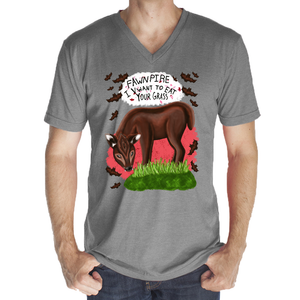 "Fawnpire ""I Vwant your Grass"" - Unisex - USA Made 50/50 Blend V-neck"
