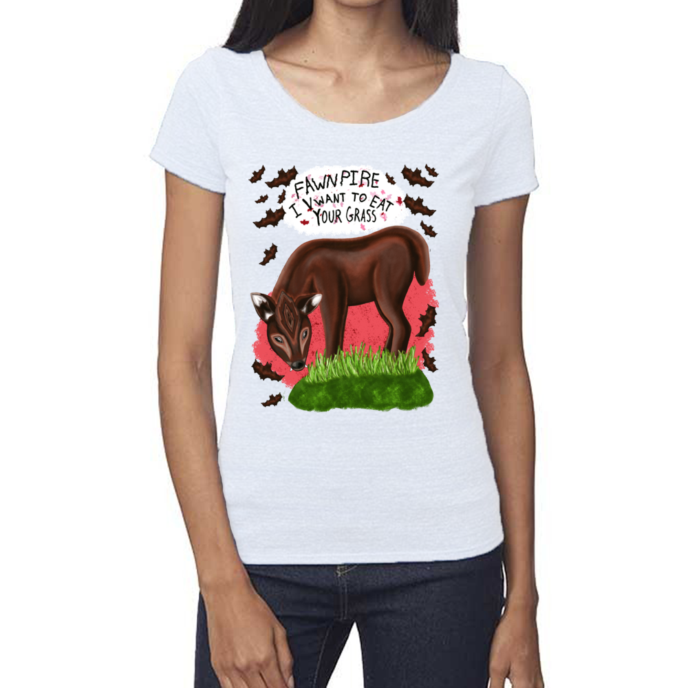"Fawnpire ""I Vwant your Grass"" - Women's - USA Made Eco Scoop Neck Tee"
