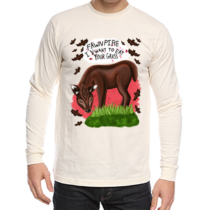 "Fawnpire ""I Vwant your Grass"" - Unisex - Organic USA Made Long Sleeve Tee"