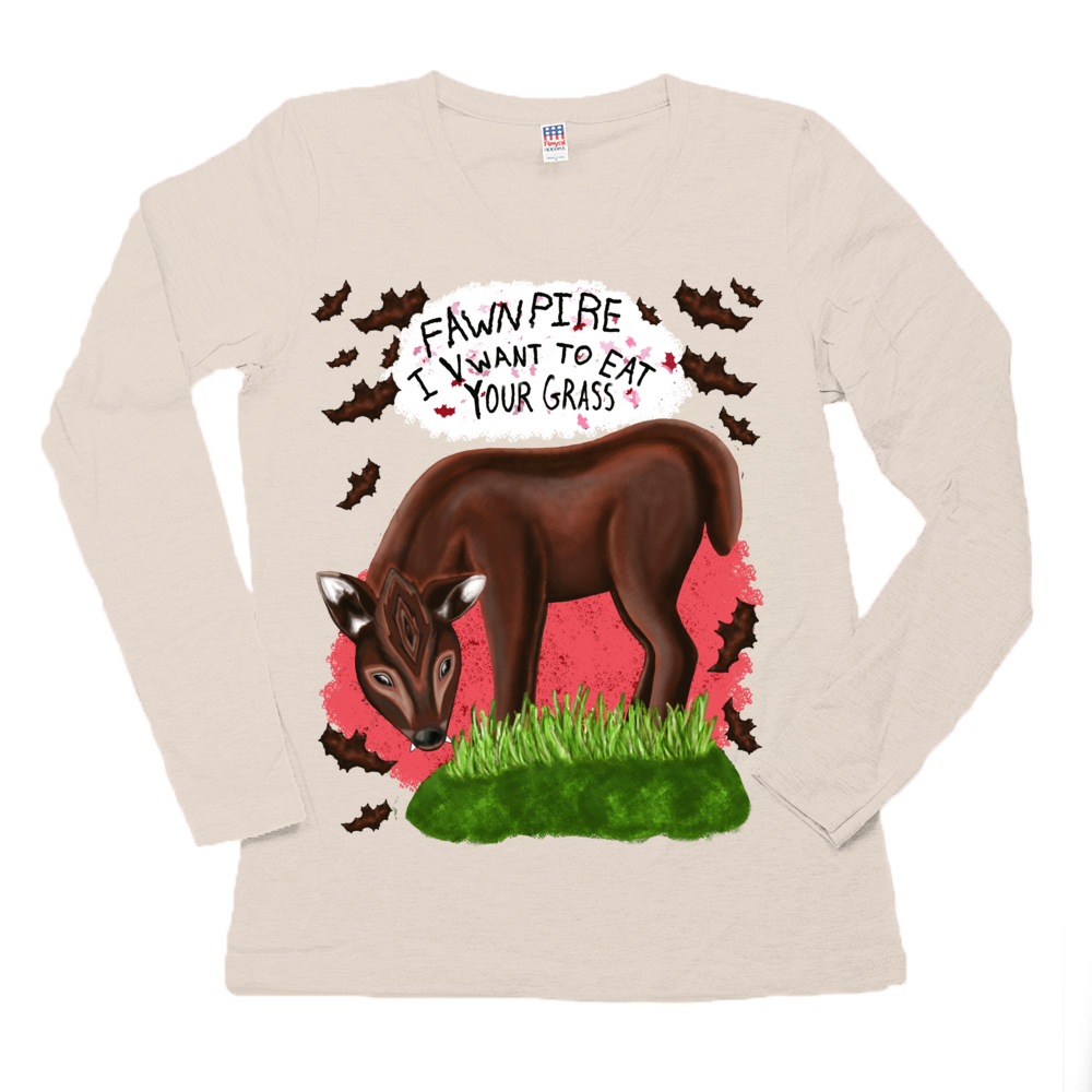 "Fawnpire ""I Vwant your Grass"" - Women's - USA Made Organic Long Sleeve Crew Tee"