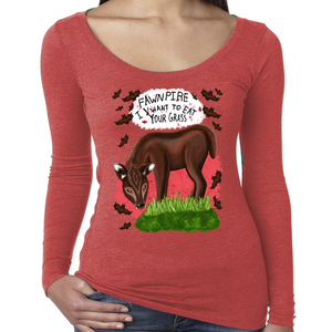 "Fawnpire ""I Vwant your Grass"" - Women's - Scoop Neck Long Sleeve"