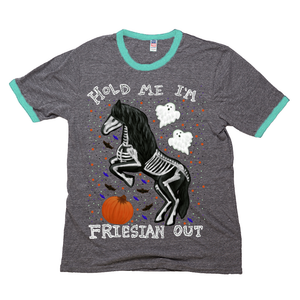 Hold Me I'm Friesian Out - Unisex - USA Made Triblend Ringer T-shirt