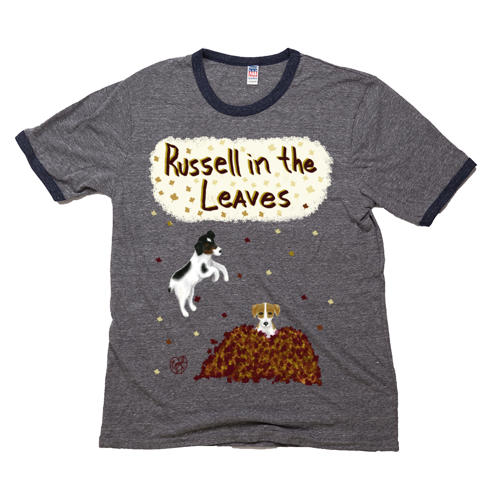 Russell in the Leaves - Unisex - USA Made Triblend Ringer Tee