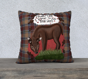 "Fawnpire Plaid - 22"" x 22"" Canadian Made Pillow Case"