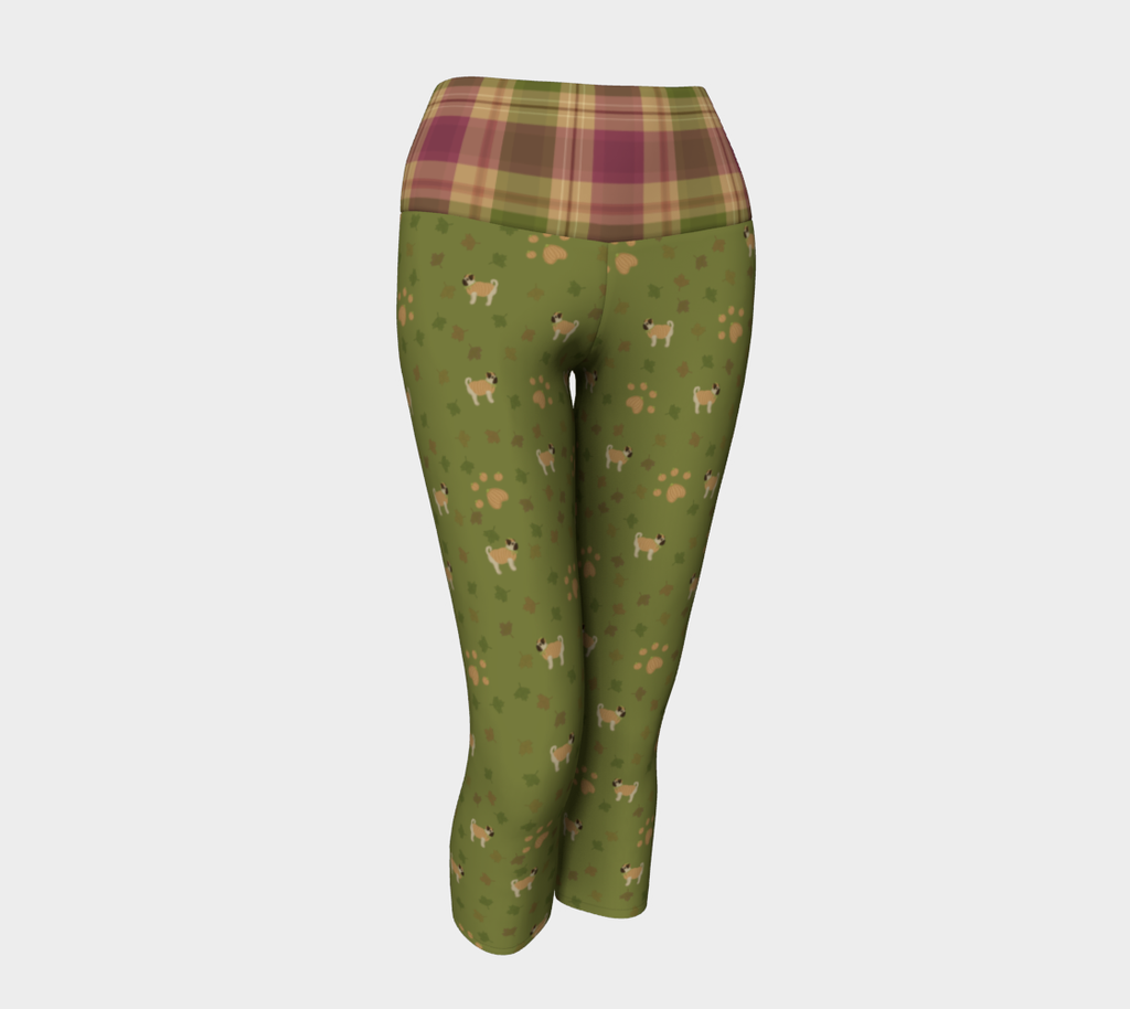 My Little Pugpkin - Plaid Band - Ecopoly Canadian Made Yoga Capris