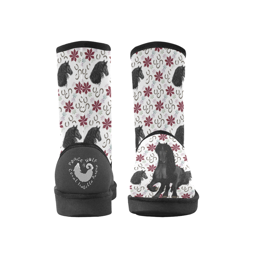 Friesian Poinsettia - Women's - High Top Winter Boots
