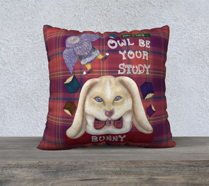 "Owl be your Study Bunny - 22"" x 22"" Pillow Case"