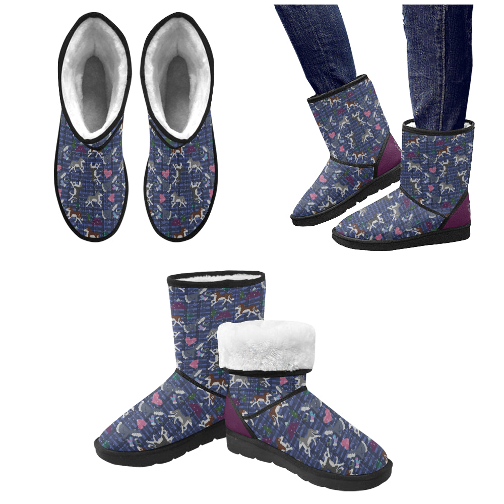 Warm Hearts Cold Mittens - Custom High Top Unisex Snow Boots (Model 047)