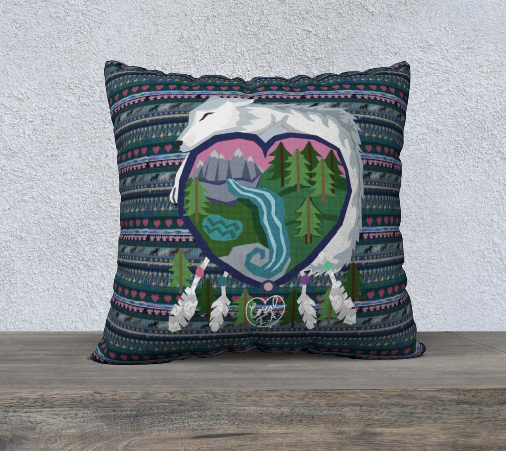 "White Wolf of Mother Earth - 22"" x 22"" Pillow Case"