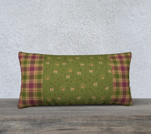 "My Little Pugpkin Plaid - Canadian Made 24"" x 12"" Pillow Case"