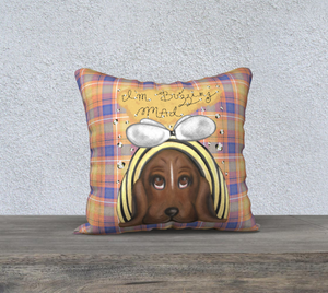 "I'm Buzzing Mad - Bumblebee Picnic Plaid - Canadian Made 18"" x 18"" Pillow Case"