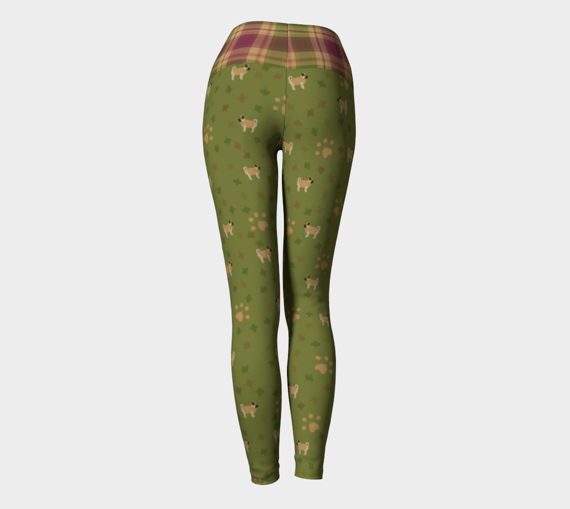 My Little Pugpkin - Plaid Band - Ecopoly Canadian Made Yoga Leggings