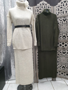 ensemble pull blanc,vert kaki abaya hijeb hijab tunique jilbeb mode modeste fashun qalam dress boutique