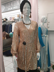tunique gold strasse soirée hijab tunique jilbeb mode modeste fashion  Qalam Dress Boutique
