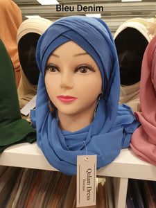 hijeb hijab robe hijab à enfiler hijab une pièce tunique jilbeb mode modeste fashion qalam dress boutique musulmane abaya bleu denim couleur