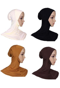 cagoule simple sous hijab long blanc rose, noir, marron, orange clair abaya hijab tunique jilbeb mode modeste fashion boutique musulmane femmes voilées