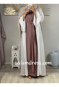 kimono hijab hijeb robe ensemble hijab à enfiler hijab une pièce tunique jilbeb mode modeste fashion qalam dress boutique musulmane abaya pas cher blanc vieux rose